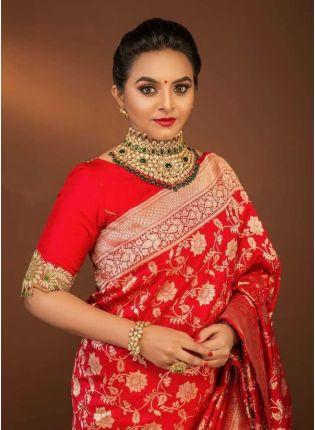 Attractive Red Color Jacquard Silk Base Saree