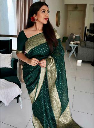 Exquisite Bottle Green Color Silk Base Kanjivaram Saree