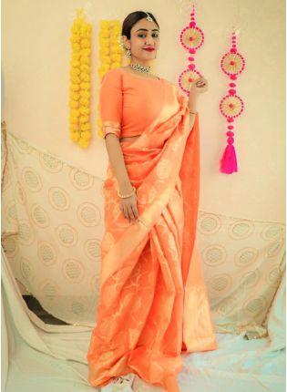 girl in Coral Yellow Bollywood Saree
