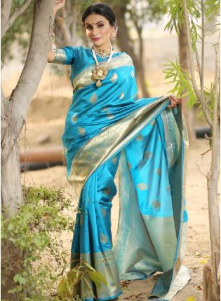 girl in Blue Bollywood Saree With Silk Weave Finish