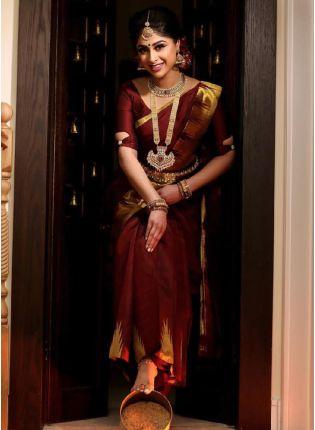 Maroon Color Soft Silk Base With Jacquard Work Wedding Wear Saree