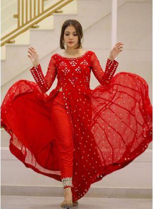 Red Foil Mirrorwork Zari Georgette Pant Style Salwar Suit