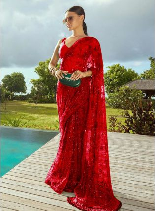 girl in Red Sequins Lace Soft Net Banarasi Silk Embroidered Saree