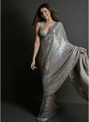 Top Grey Color Party Wear Georgette Base Designer Sequins Work Saree