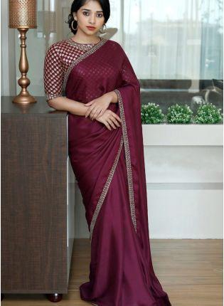 girl in Wine Sequin Silk Emboriderd Saree For Sangeet