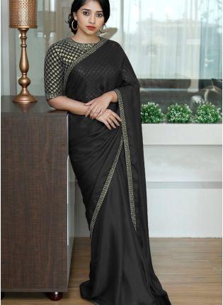 girl in Black Sequin Dori Silk Embroidered Saree For Party