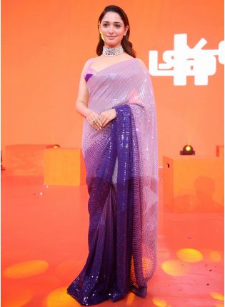 girl in Royal Purple Party-Wear Georgette Saree