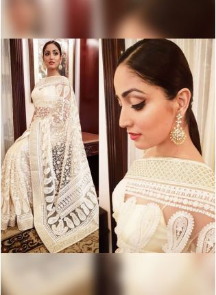 Iconic White Color Heavy Thread Work Party Wear Designer Saree