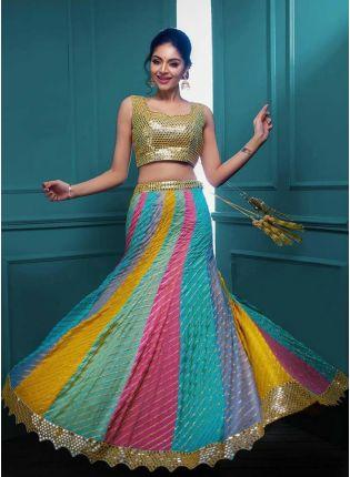 Top Fabulous Mutli-Color Lehenga Choli With Zari And Gota Patti Work