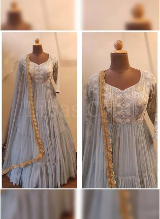 Best Majestic Light Grey Embroidered Georgette Base Flared Ruffle Gown
