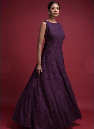 Decent Stunning Grape Purple Embroidered Reception Wear Anarkali Suit