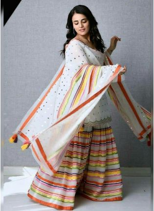 Iconic Charming White Cotton Silk Festive Wear Digital Printed Sharara Suit