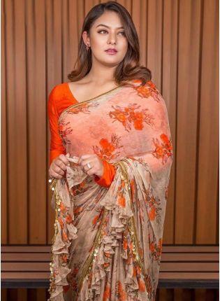 Splendid Wonderful Peach And Orange Georgette Base Digital Printed Saree