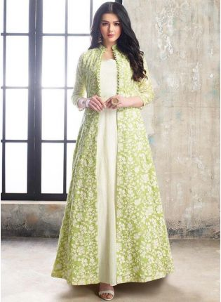 Best Fabulous Light Green And White Georgette Base Jacket Style Salwar Suit
