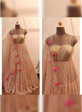 Purchase Elegant Peach Colored Georgette Base Sequin Work Flared Salwar Suit