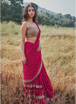 Trendy Rani Pink Color Georgette Base With Heavy Work Designer Saree