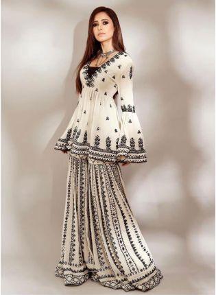 Elegant Off-White Georgette Sharara Salwar Suit Set