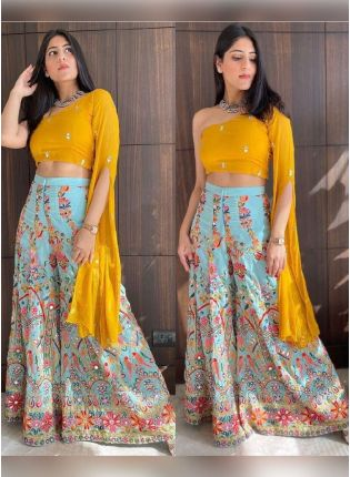 Sunshine Yellow Color Georgette Base Party Wear Crop With Palazzo Suit
