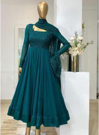 Peacock Blue Color Georgette Base Embroidery Work Designer Anarkali Suit