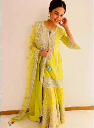 Bright Neon Green Color Georgette Base Bollywood Look Sharara Suit