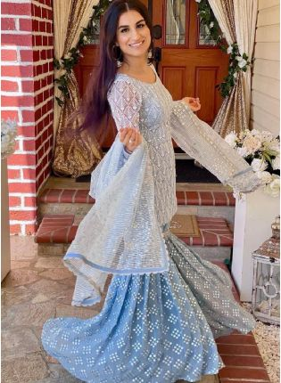 Sky Blue Color Soft Net Base With Embroidery Work Sharara suit