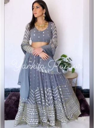 Presenting Grey Color Georgette Base With Embroidery And Sequins Work Lehenga Choli