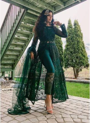 Fabulous Bottle Green Color Soft Net Base Slit Cut Anarkali Suit