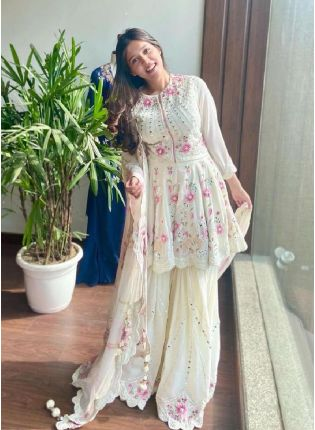 Order White Color Georgette Base With Heavy Work Party Wear Sharara Suit