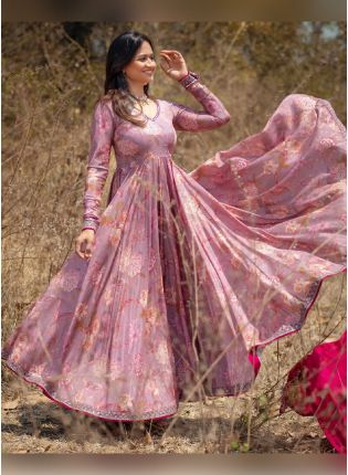 Trendy Lilac Color Georgette Base Printed Anarkali Suit