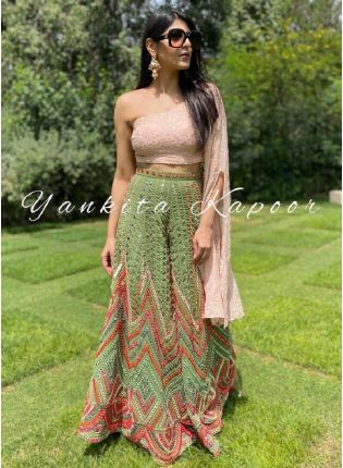 Impressive Olive Green And Pink Color Georgette Base Palazzo Suit
