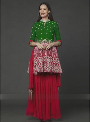 Exemplary Green And Red Color Georgette Base Sharara Suit