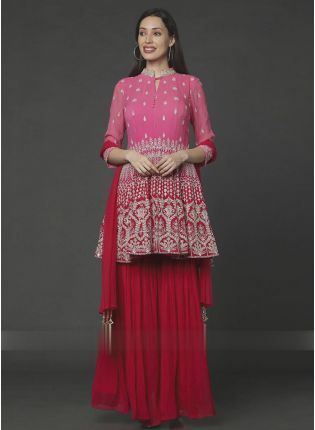 Exemplary Pink And Red Color Georgette Base Sharara Suit