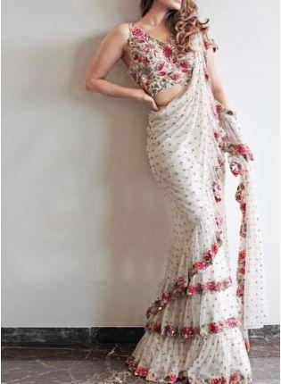 Splendid White Color Georgette Base Designer Embroidery Sequins Work Ruffle Saree