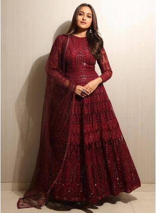 Top Gorgeous maroon color Designer Ethnic Wear