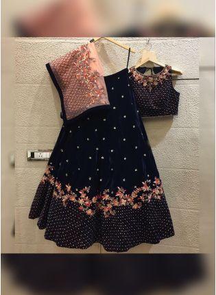 Shop Navy Blue Color Wedding Wear Designer Velvet Base Lehenga Choli