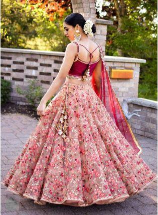 Decent Majestic Peach Pink Art Silk Zari And Resham Work Lehenga Choli
