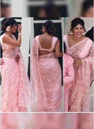 Stylish Baby Pink Color Organza Base Party Wear Saree