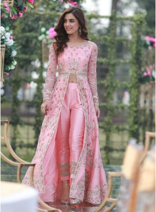 Affordable Baby Pink Color Taffeta Silk Base Heavy Embroidery Work Slit Cut Suit