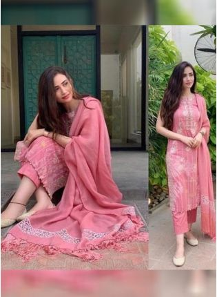 Top Pink Color Party Wear Designer Embroidery Work Pant Style Suit