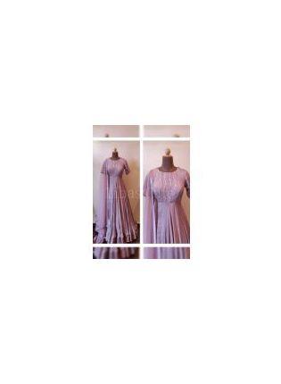 Best Delightful Purple Color Georgette Base Foil Mirror Work Gown
