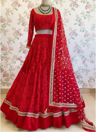 Best Stylish Red Color Georgette Base Heavy Embroidered Lehenga Choli