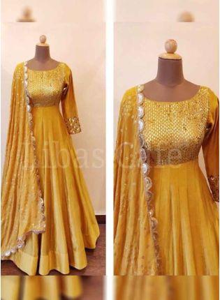 Buy Mustard Yellow Color Satin Silk Base Designer Anarkali Suit