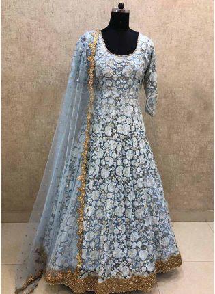 Iconic Elegant Grey Color Georgette Base Thread Work Salwar Kameez Suit
