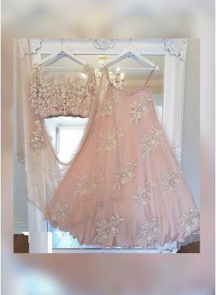 Purchase Blush Pink Color Party Wear Designer Soft Net Base Lehenga Choli