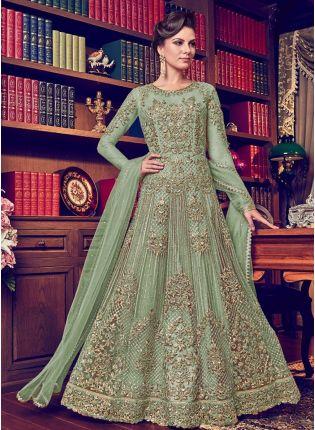 Top Pista Green Color Designer Heavy Net Base Salwar Kameeez Suit