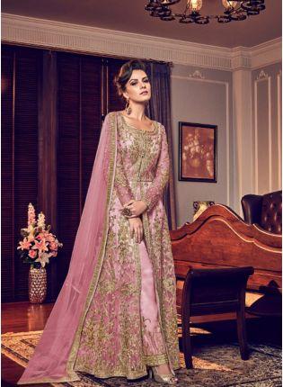 Shop Baby Pink Color Party Wear Designer Wedding Wear Slit Cut Anarkali Suit