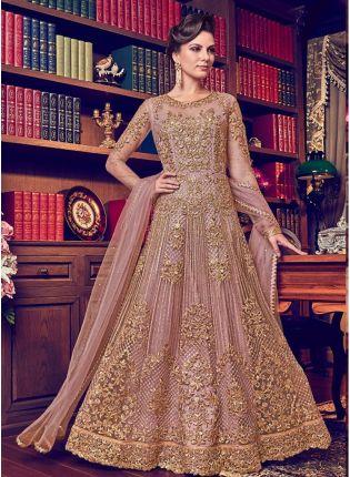 Shop Peach Color Designer Heavy Net Base Salwar Kameeez Suit