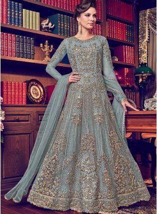 Trendy Sky Blue Color Designer Heavy Net Base Salwar Kameeez Suit