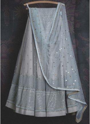 Shop Adorable Light Grey Soft Net Base Sangeet Wear Lehenga Choli