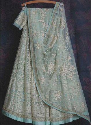 Magnificent Turquoise Color Soft Net Base With Sequins And Reasham Work Lehenga Choli